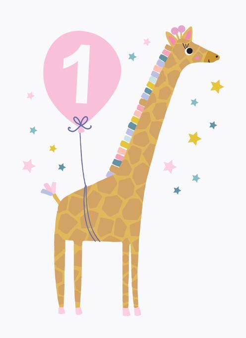 Giraffe Pink 1st Birthday