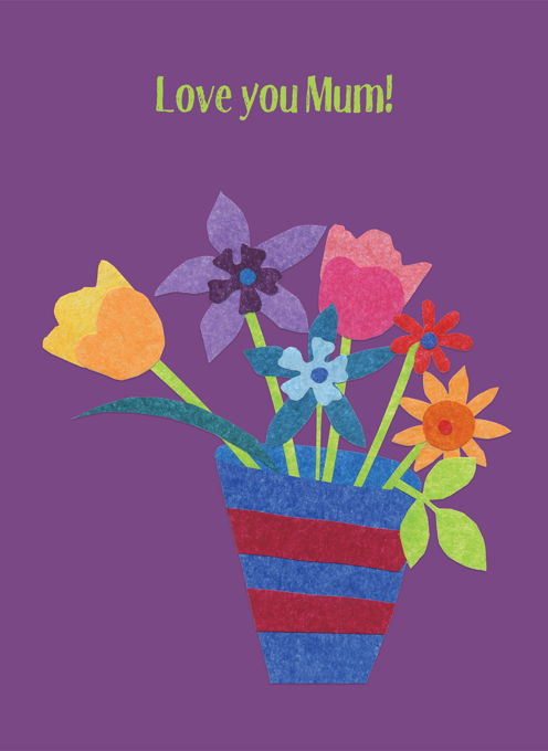 Love You Mum With Flowers