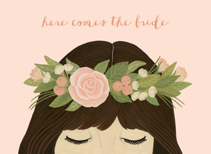 Flower Crown Bridal Shower Engagement Card