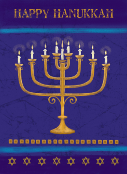 Happy Hanukkah Gold Candles