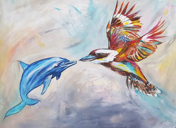 Best Mates - Dolphin & Kookaburra