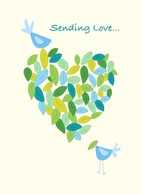 Sending Love Birds Leaf Heart