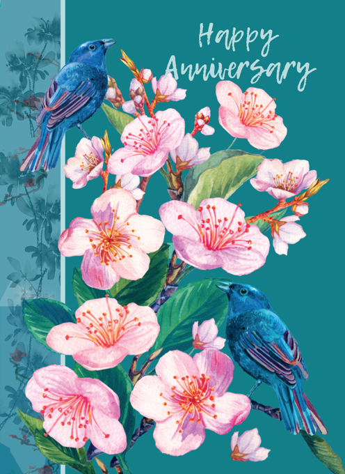 Happy Anniversiary Birds and Blossom Card