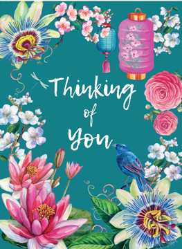 Thinking Of You Floral Decorative Card