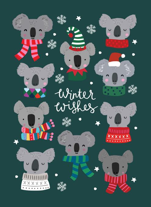 Koala Winter Wishes Christmas card