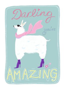 Darling You're Amazing Llama Card