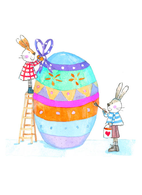 Rabbits Decorating An Easter Egg