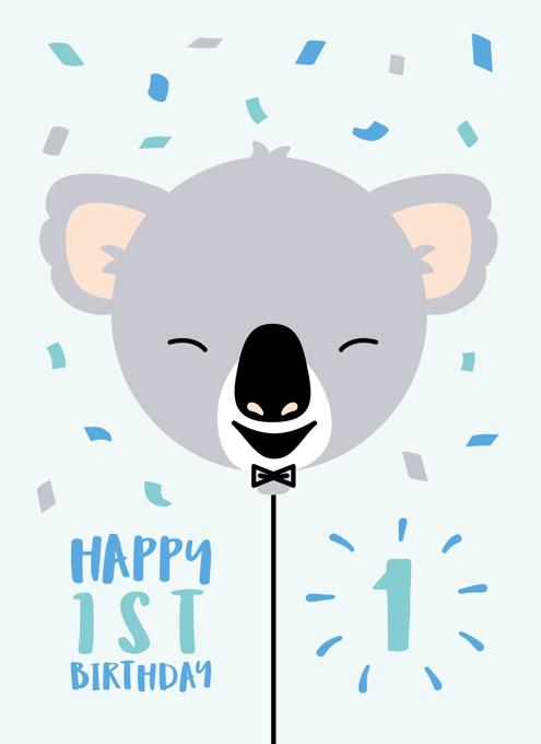 Koala 1st Birthday Card