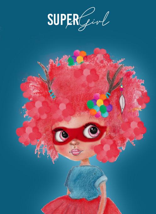 SUPER GIRL - Cute Character Card