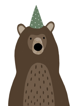 Bear in Party Hat