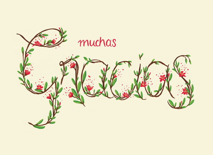 Muchas Gracias Floral - Spanish Thank You