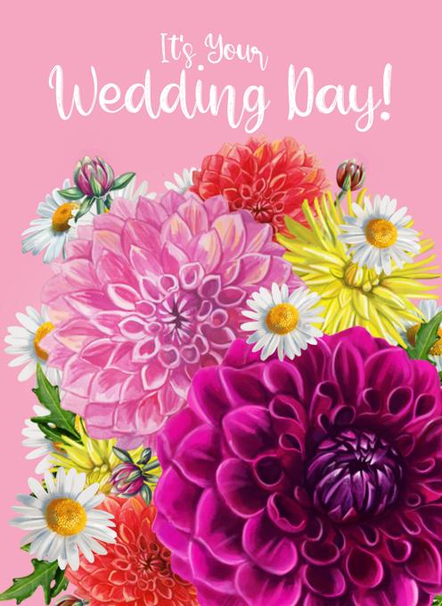Wedding Dahlias Card