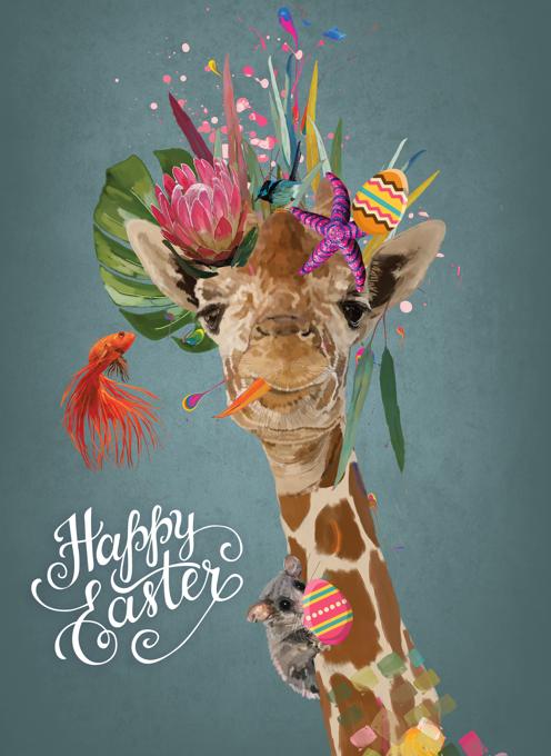 Funky Giraffe - Happy Easter Card