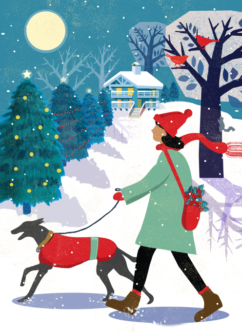 Whippet/Lurcher Dog Walk Christmas Card
