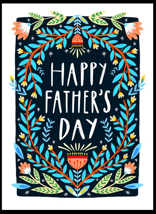 Happy Father's Day Folk Art