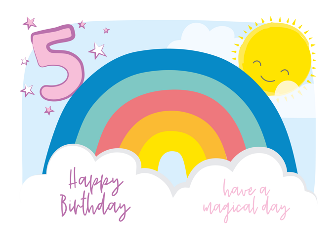 Rainbow Birthday Card - Age 5