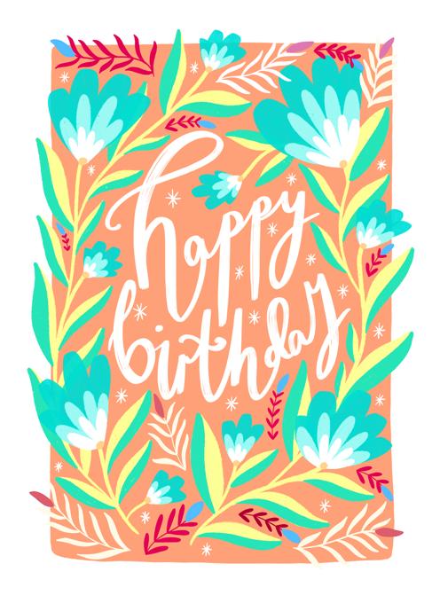 Happy Birthday Peach Florals