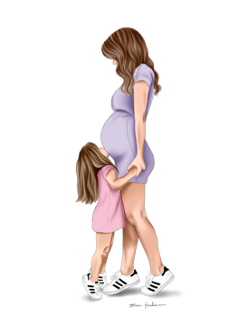 Pregnant Mum With Daughter