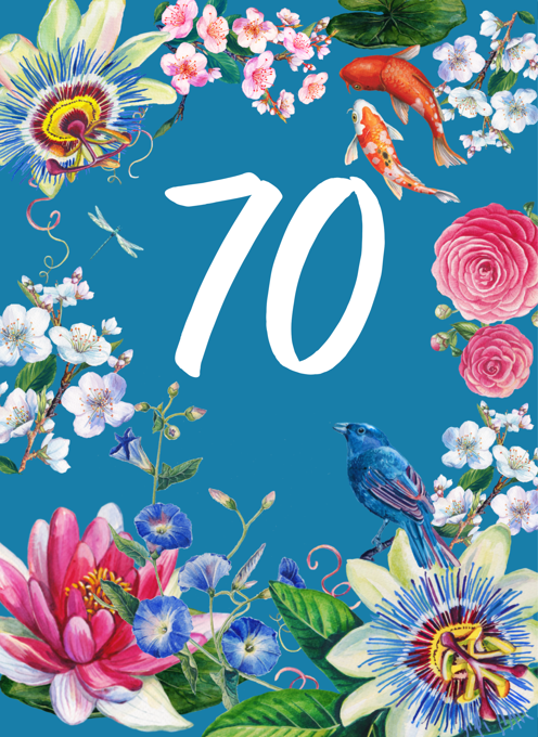 70th Floral Decorative Birthday Card