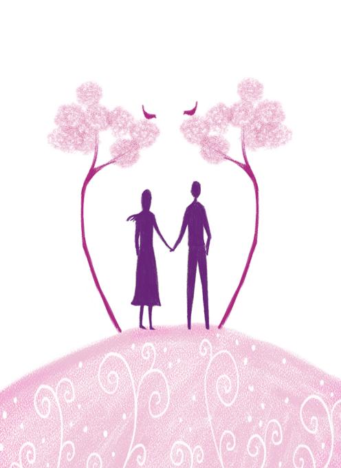 Couple Under Pink Bird Trees