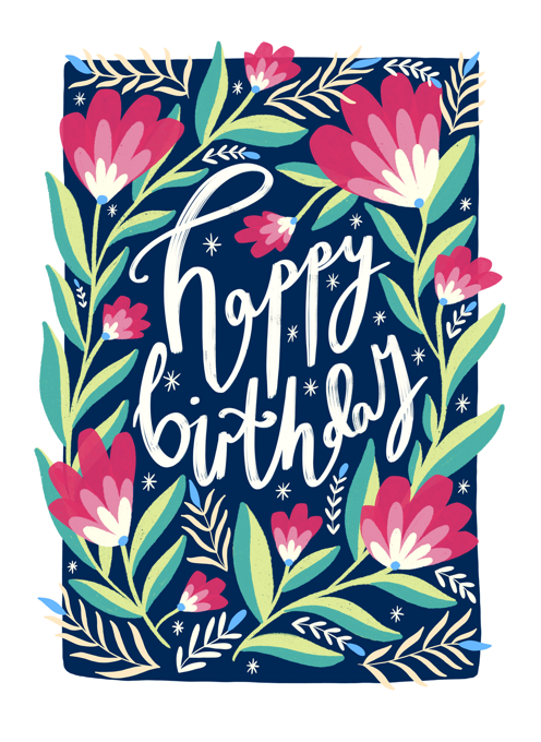 Happy Birthday Blue Florals