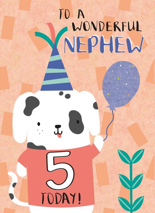 Nephew Happy Fifth Birthday Puppy Card