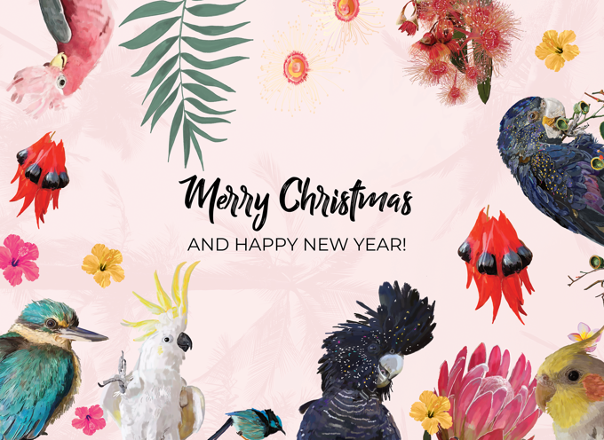 Australian Native Birds Christmas Card