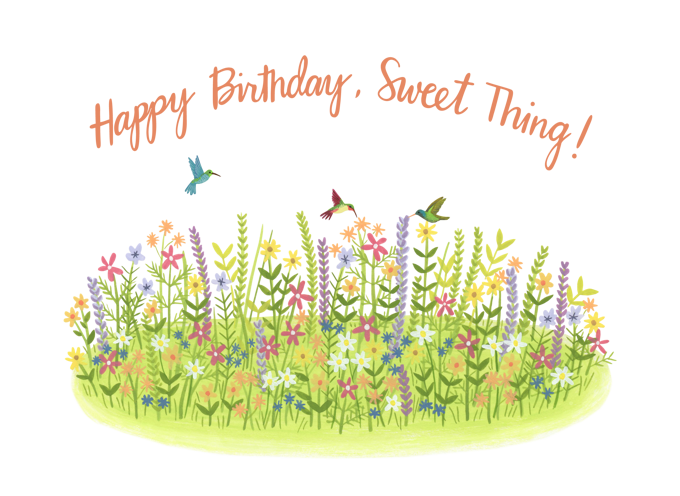 Hummingbird and Flowers Birthday