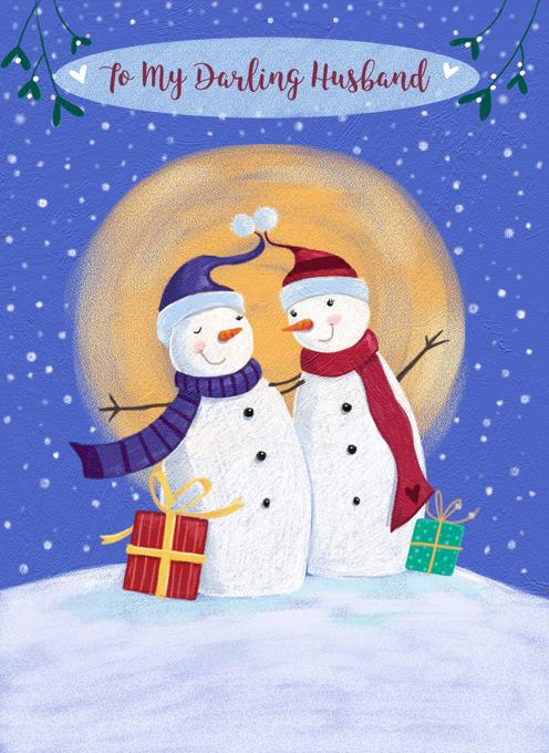 To My Darling Husband Christmas Snowman Moon