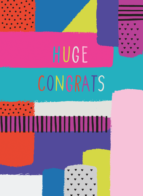 Huge Congrats Rainbow Blocks Card