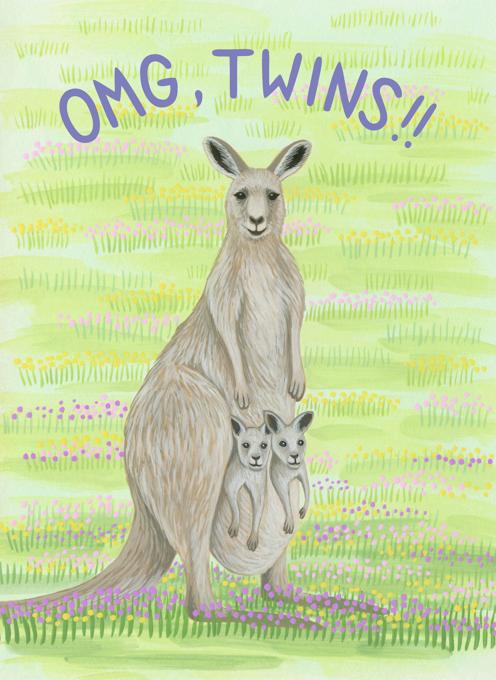 Twin Kangaroo Babies Congratulations