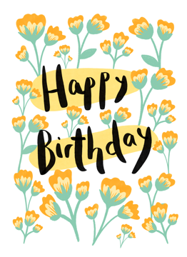 Happy Birthday Orange Florals
