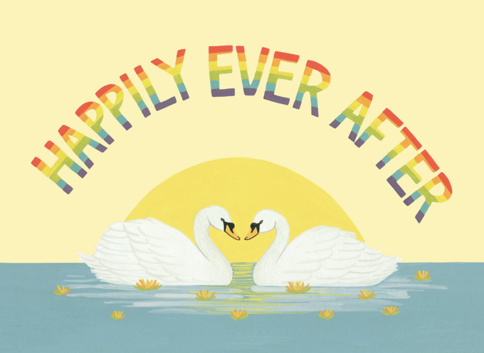 Rainbow Swans Wedding Card