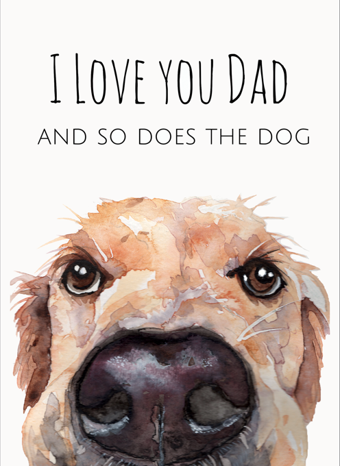 Golden Retriever Card for Dad