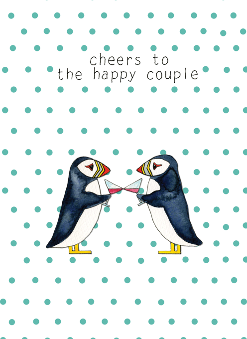 Cheers to The Happy Couple - Puffins