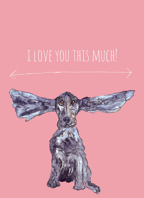Valentines Card with a Spaniel Dog
