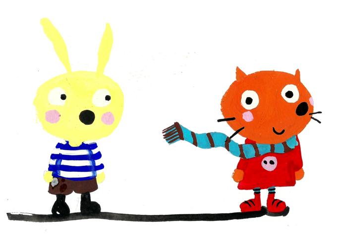 Yellow Rabbit & Orange Cat