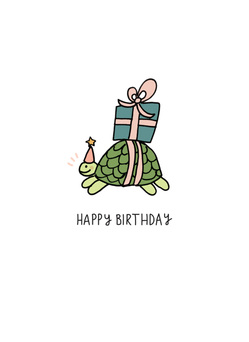 Tortoise Present Happy Birthday