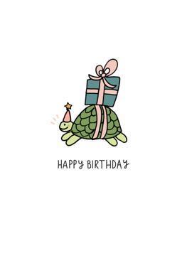 Tortoise Present Happy Birthday