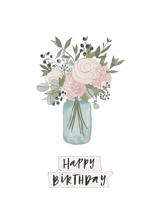 Jar of Flowers Birthday Card