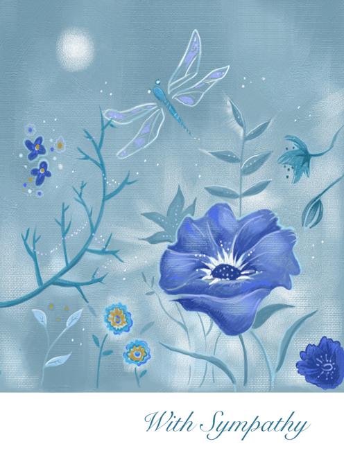 Sympathy Blue Floral Dragonfly