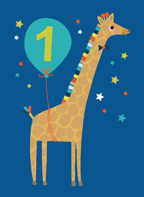 Giraffe Blue 1st Birthday