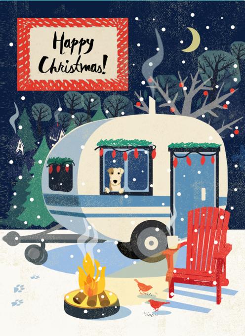 Cosy Caravan and Dog Christmas Card