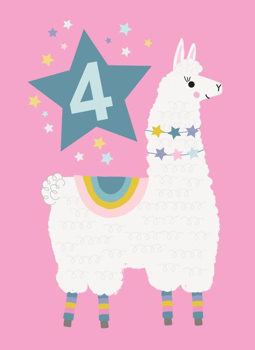 Llama Birthday Age 4