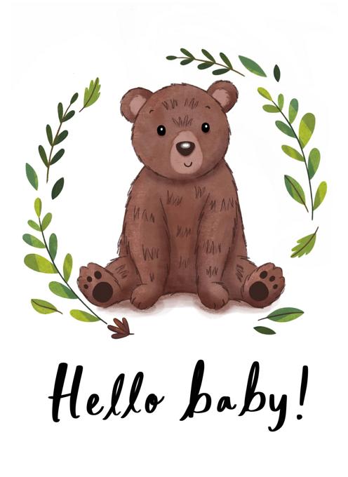 Hello Baby Bear Card