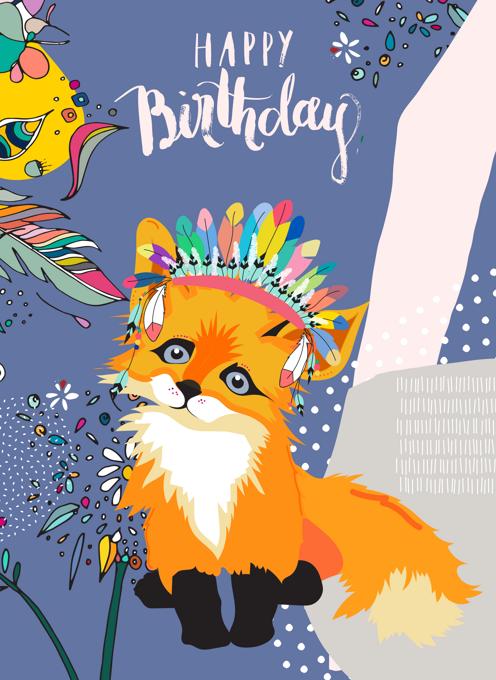 Funky Fox Birthday Card