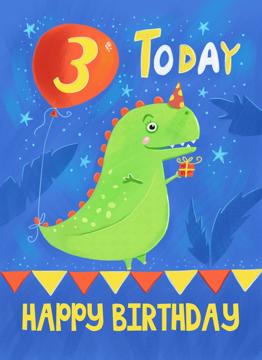 Birthday Age 3 Cute Dinosaur