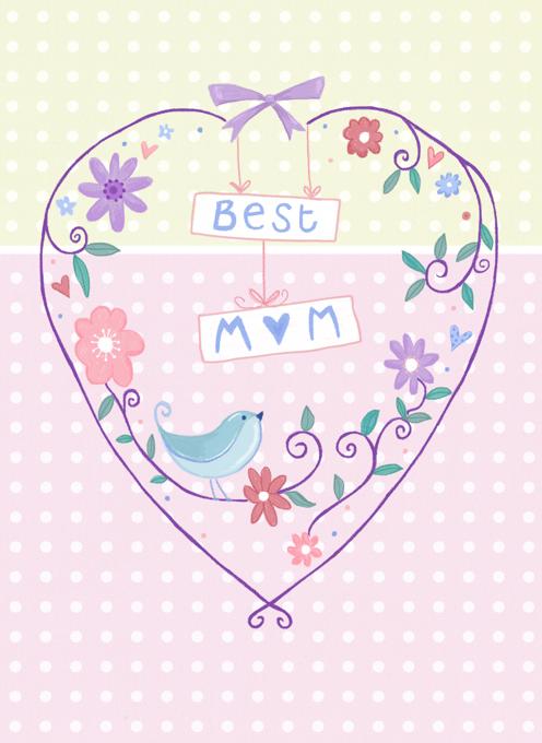 Best Mum Mom Heart Birdie