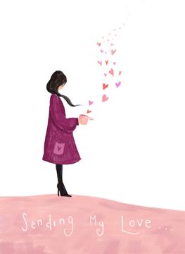 Sending My Love Girl Love Hearts