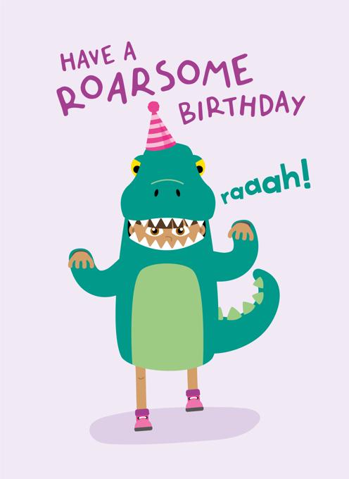 Dinosaur Girl Birthday Card